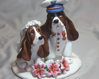 Custom Made Clay 2 Dog Wedding Cake Topper Sculpture Basset Hound cat animal Military Coat Guard Bride Groom Pet