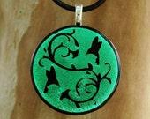 SALE Hummingbird Dance Fused Glass Pendant