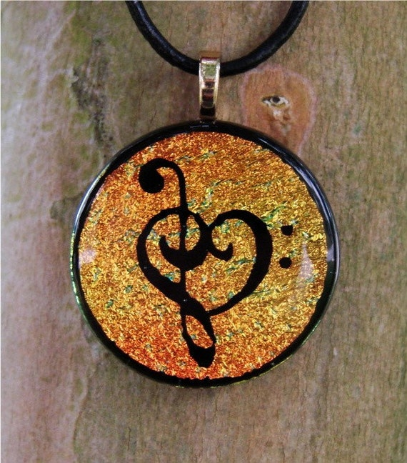 Fiery Gold Music Love Fused Glass Pendant