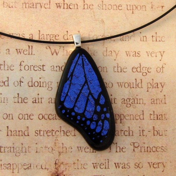 Medium Purple Fused Glass Butterfly Wing Pendant