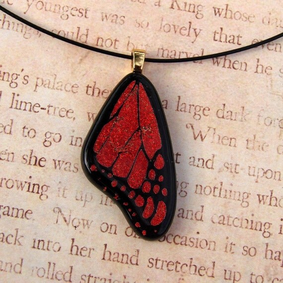 Deep Copper Monarch Butterfly Wing Fused Glass Pendant Medium