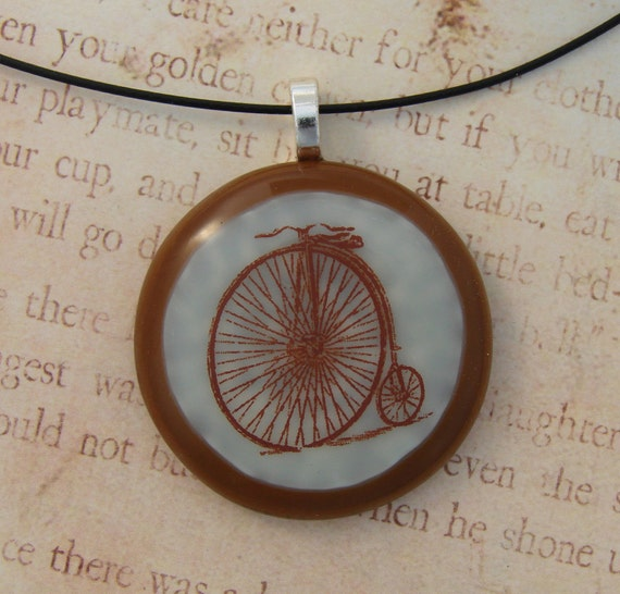 High Wheel Bicycle Vintage Illustration Fused Glass Pendant With Free Necklace Cord