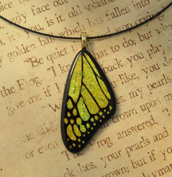 Butterfly Wing Fused Glass Yellow Pendant