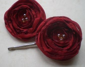 Secret Garden, Cardinal Red Poppy Hair Pins