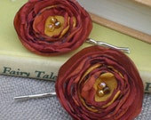 Bobby Pin Set with Handmade Flowers - Made to order