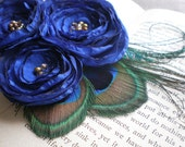 The Royal, flower and feather brooch/clip-Made to Order