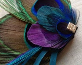 Teal and Purple Peacock Fascinator, Made to Order