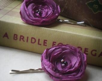 Secret Garden, Fuchsia Poppy Hair Pins