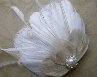Lily, Feather Hair Clip - Made to order