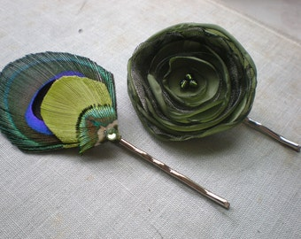 Olive Feather and flower pin set - Made to Order