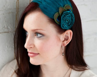 Peacock Blue Feather Headband with flower - Made to order