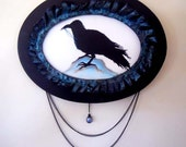 Crow Raven Painting Southern Gothic Shabby Chic Acrylic with Mixed Media Frame and Black Pearl Accent - A Crows Obsession