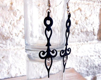 Gothic Steampunk Earrings Clock Hands Black with Crystals- Noir Neo Victorian Styled