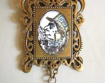 Mad Hatter Necklace Tea Party Jewelry Alice in Wonderland Character in an Ornate frame Setting with fresh water pearls