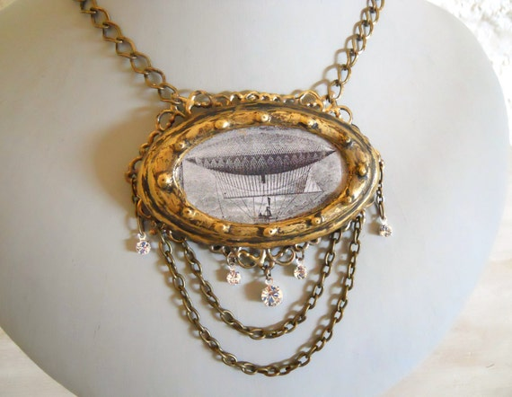 Steampunk airship Pendant  Henri Giffard Dirigible image with antique brass chain and Crystals