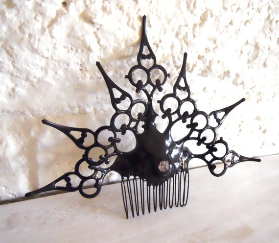 Goth Neo Victorian Hair Comb black Gothic clock hand hair Ornament- Found in a Cask of Amontillado