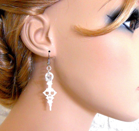 White Clock Hand Earrings with Crystals- Time Waits For No Woman (petit white)