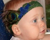 SALE- 25 PERCENT OFF- Bella Fleur Peacock Feather Headband for Baby with Vintage Applique and Green Stretch Lace Band