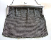 ON SALE Vintage ART DECO Chatelaine Silver Chain Maille Mesh Purse Bag