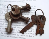 A Collection Of 6 Very Rusty Vintage Keys  For Steampunk Jewelry Altered Art Mixed Media Assemblage Design