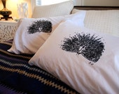 Hand Screen Printed Peacock Pillowcase Pair Standard Black on White- bird- animal pillowcase- nature