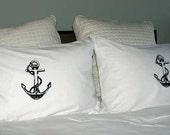 Black Anchor Screen Printed Standard Pillowcases Pair