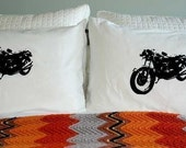 Screen Printed Vintage Motorcycle Pillowcase Pair Black on White