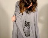 SALE---Owl Slub Cardigan Throw Over Black /Small