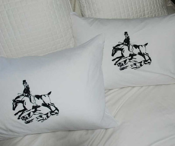 English Horse Rider Pillowcase Pair Standard