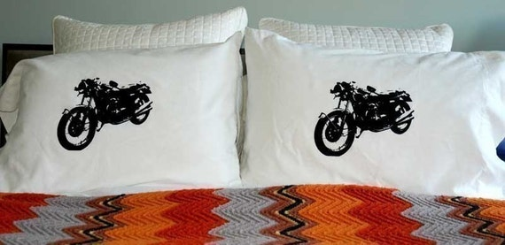 Screen Printed Vintage Motorcycle Pillowcase Pair Black on White