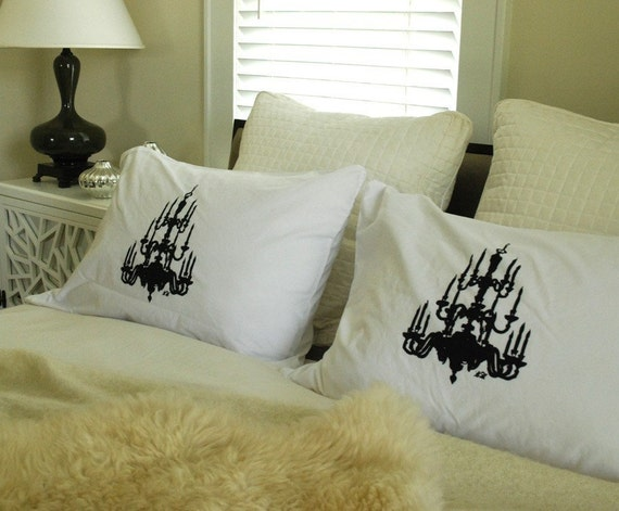 Hand Screen Printed  Pillowcase Pair Chandelier Standard Black on White