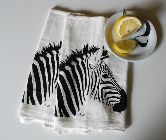 Zebra Hand Screen Printed Tea Towel Pair Black on White- flour sack towel- dish cloth- bar towel- animal towel- foodie gift-