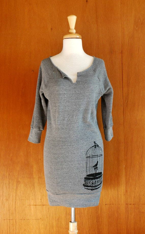 Birdcage Screen Printed Sweatshirt Dress
