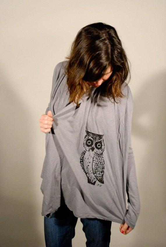 SALE---Owl Slub Cardigan Throw Over Black /Small