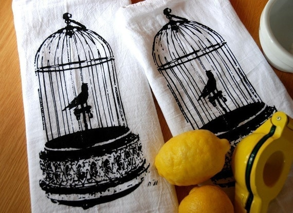 Reserved for Stacy Gilded Birdcage Cotton Bar Towels Set of Two