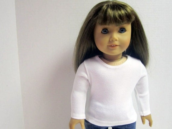 American Girl Doll Fitted  White Long Sleeved Tee by Crazy For Hue