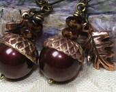 Deep Autumn Squirrel Food - Acorn and Oak Leaf Earrings - Brass