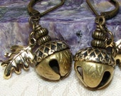 Brass Bells Acorn Earrings Vintage-look Dryad Nymph Fairy Faerie Fae