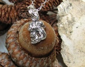 Tiny Sterling Squirrel Necklace All-Sterling Silver, Dainty 925 Chain