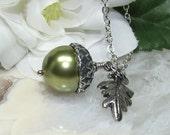 Simple Light Green Acorn Necklace Oak Leaf & Sparkly Soldered Rhodium Chain - QUALITY Swarovski Pearl