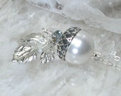 RESERVED for Jessie Only - Sterling Wedding Acorn Necklace with Oak Leaf - Sterling Silver Swarovski Pearl and Crystals