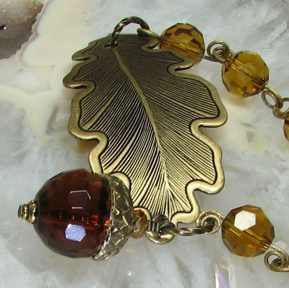 Acorn and Oak Leaf Bracelet Brass Crystals Modified Cuff Rangers