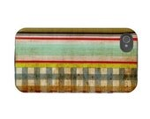 iPhone 4 case -gingham-grunge-strips-handmade