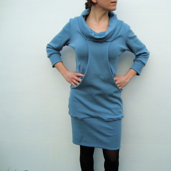SALE -POCKET DRESS BLUE GREY available in xs,s,m,l,xl