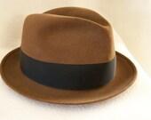 Vintage Kevin McAndrew Brown Fedora Hat 1950s
