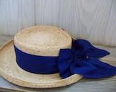 Ladys Straw Hat Fiesta Santa Barbara Blue Bow 1960s