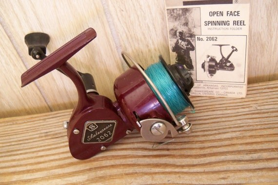 Vintage fishing reel shakespeare open face spinning no 2062 for Open reel fishing