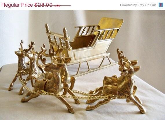 Vintage Brass Reindeer And Santa S Sleigh