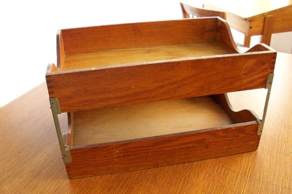 Wood File Box Globe Wernicke In Out Double Tier 1940s