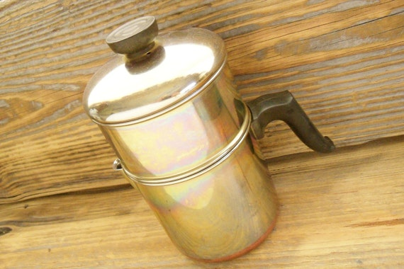Coffee Pot Revere Ware Drip Stainless Steel Copper Clad 4 Cup 1950s